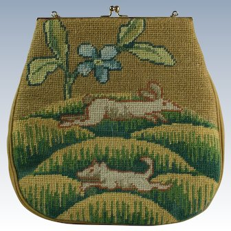 Tapestry Needlepoint Purse w/ Rabbit & Boar Wool Handbag