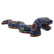 Huichol Beaded Snake Figure Folk Art Mexico