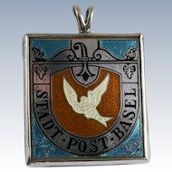 Switzerland Basel Silver Dove Stamp Enamel Pendant