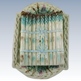 French Barbotine Majolica Asparagus Cradle Server