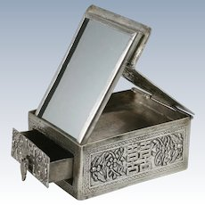 Chinese Export Silver Miniature Box w/Mirror Double Happiness