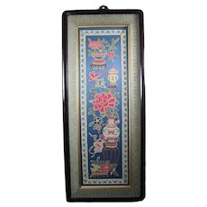 Chinese Silk Embroidered Sleeve Band Forbidden Stitch Peking Knots Panel