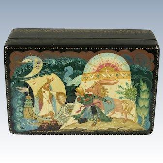 Russian Lacquer Box ''The Tsar Maiden'' Kholui USSR