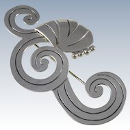 Large Mexican Sterling Scrolling Spirals Pin Brooch