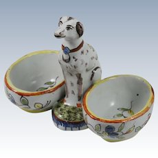 French Faience Dog Double Open Salt Desvres