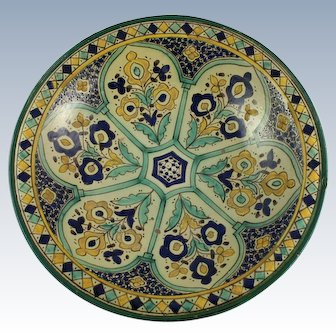 Moroccan Faience Tin Glazed Pottery Bowl Fes
