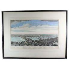 18th Century Hand-Colored Copper Plate Engraving of London