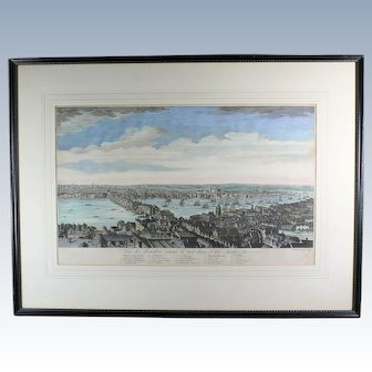 18th Century Hand-Colored Copper Plate Engraving of London  C. 1756