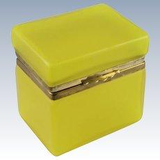 French Satin Glass Yellow Casket Hinged Box