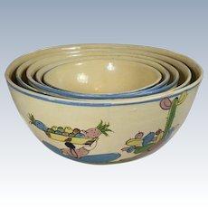 Mexican Tlaquepaque Tourist Pottery Nesting Bowls Set Of 5