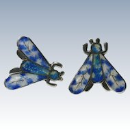 Jeronimo Fuentes Taxco Mexican Sterling Blue Basse-Taille Enamel Moth Earrings #2