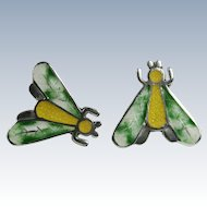 Jeronimo Fuentes Taxco Mexican Sterling Basse-Taille Enamel Moth Earrings #1