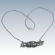 Sterling Two Crabs Pendant Necklace Japanese Menuki Style