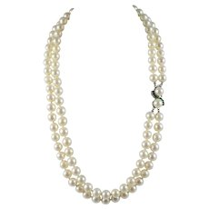 Double Strand Japanese Akoya Cultured Pearl Necklace 14K White Gold Emerald Clasp