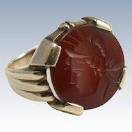Gentleman's Carved Carnelian Intaglio Ring 10K