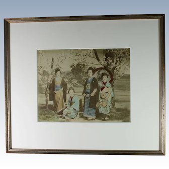 Japanese Meiji Era Albumen Photograph Geisha and Maiko Cherry Blossoms Kyoto