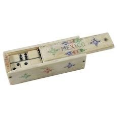 Mexican Miniature Bone Domino Set