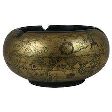 Italian Florentine Ceramic Old World Map Globe Ashtray
