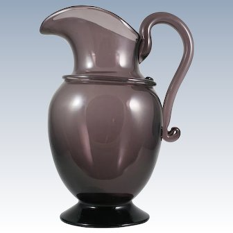 Italian Murano Purple Amethyst Art Glass Pitcher Ewer