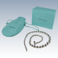 Tiffany & Co. Sterling Graduated Ball Bead Necklace