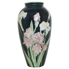 Large Santa Barbara Ceramic Design Art Pottery Vase Jar Signed A. Suman Calla Lilies Irises