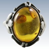 Vintage Baltic Honey Amber Sterling Silver Ring