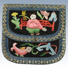 Chinese Qing Silk Embroidered Wallet/Purse