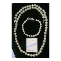 Lustrous Estate Mallorca Imitation Pearl Necklace and Bracelet