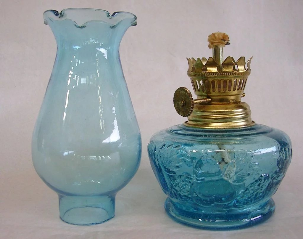 Aqua Blue Miniature Oil Kerosene Lamp Made In Hong Kong