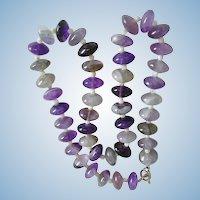 Large Natural Amethyst Polished Rondelle Bead Necklace