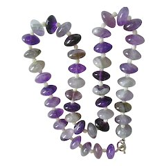 Large Natural Amethyst Polished Rondelle Bead Necklace