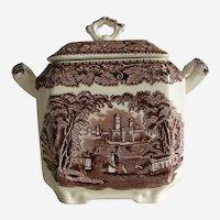 Mason's England Brown Transferware Vista Sugar Bowl