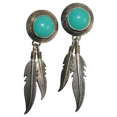 Southwestern Design Sterling Silver Feather and Faux Turquoise Earrings