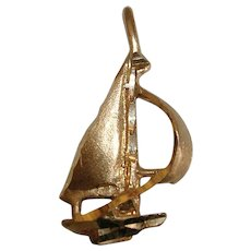 Vintage 14Kt Yellow Gold Sailboat Pendant Charm at Full Sail - Red Tag Sale Item