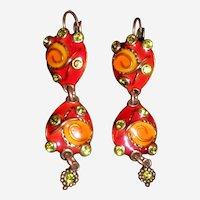 TaraTaTa France Whimsical Enamel and Rhinestone Copper Dangle Pierced Earrings