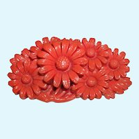 Vintage Coral Celluloid Daisy Bouquet Pin Brooch