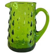 Charming Olive Green Hand Blown Pitcher