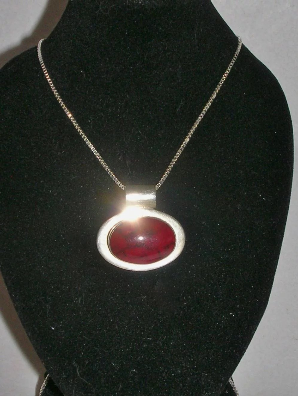 Vintage Red Jasper Sterling Silver Necklace Mexico 20