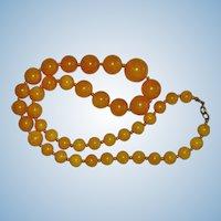 "Luscious Apple Juice Bakelite Graduated Bead Necklace 22"""