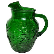 Anchor Hocking Forest Green Sandwich Juice Pitcher