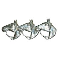 Sterling Silver Figural Trio of Horses Pin Brooch by Lang