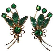 Vibrant Green Enamel and Rhinestone Comet Design Earrings