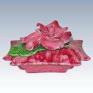Gorgeous California Pottery Rose Trinket Dish Bargain