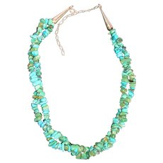 Carolyn Pollock Relios Sterling Silver and Turquoise Nugget Double Strand Necklace