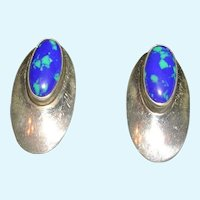 Pretty Azurite and Sterling Silver Earrings
