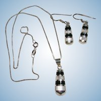 Lovely Sterling Silver Onyx and MOP Earring Necklace Set