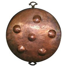 Large Primitive Hand Wrought Copper Poaching Pan
