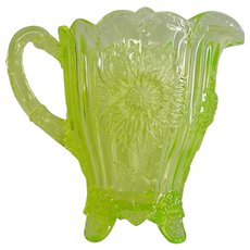 Luminous Mosser Vaseline Glass Dahlia Pitcher