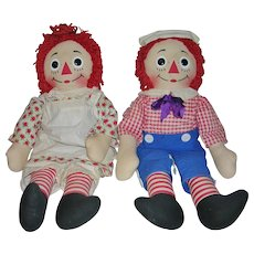 "Raggedy Ann and Andy Dolls 20"" Knickerbocker 1965"