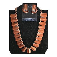 Modernist Renoir Copper Necklace and Earrings